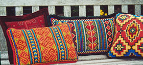 Berber Stripe Back Pillow 02, Small Basilica 03, Celtic Knot 04, Small Karakum 04