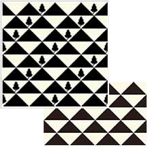 Triangles with Acorns and small rectangle in black & white