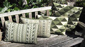 Triangles in greens with Oahu and Morocco Stripe companions