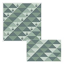 Triangles in sea greens and spruce blues