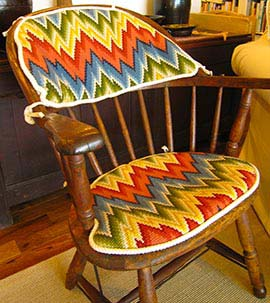 upholstery patterns for chair seats and stool tops - shown pattern Flamestitch