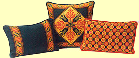 we offer a collection of color coordinated and design related groups of pillows - shown are patterns Tulip and Tulip Border with Honeycomb
