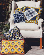color coordinated patterns in blues and yellows-patterns shown from the Tulip group, Anatolia, Fleur de Lis